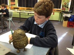 St Jospehs Connor creating his story about the mystical powers of his....